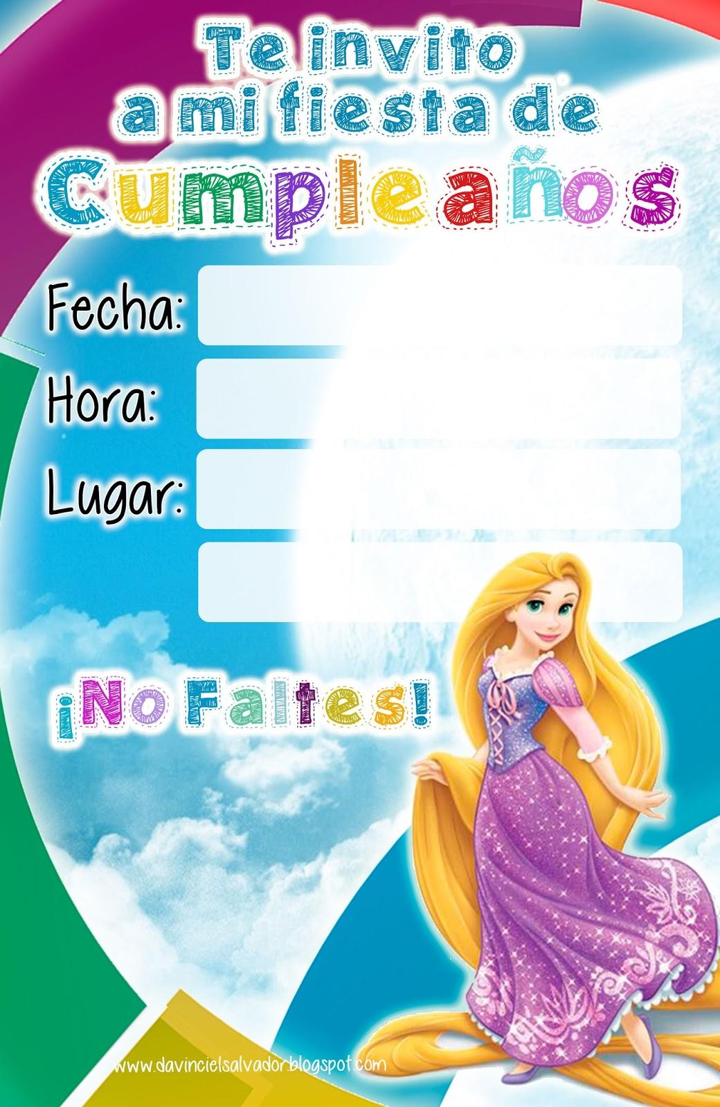 Invitación de Cumpleaños Rapunzel de Enredados