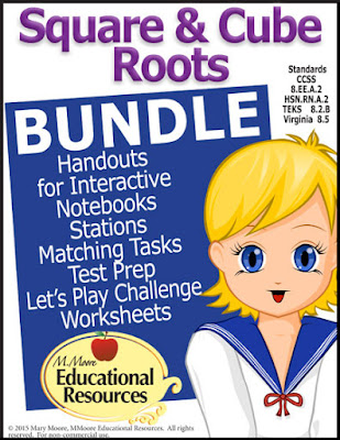 https://www.teacherspayteachers.com/Product/Square-Roots-and-Cube-Roots-Activity-BUNDLE-Math-Centers-Test-Prep-More-2097512