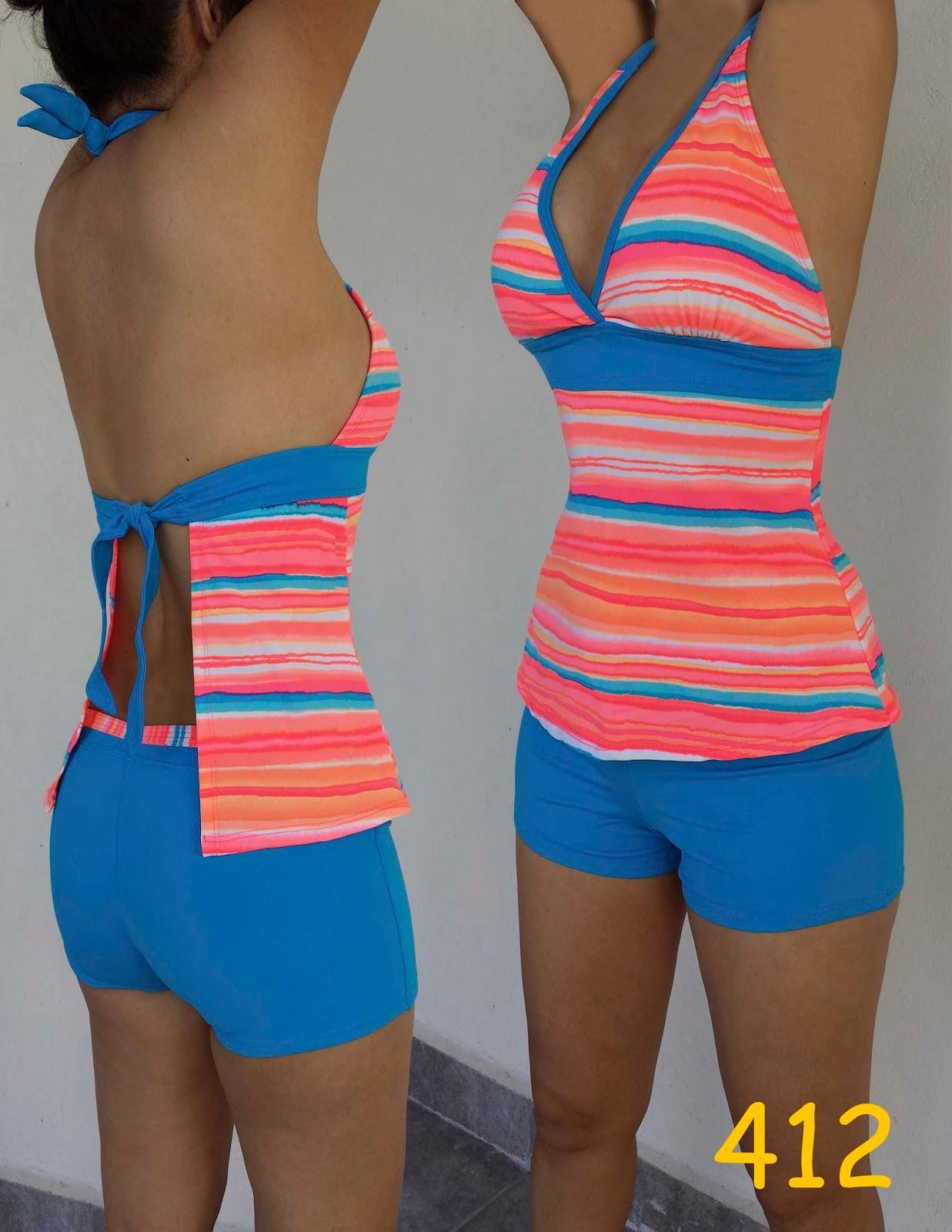 Trajes de ba o sol de abril short con blusa y top for Ganchos para trajes de bano