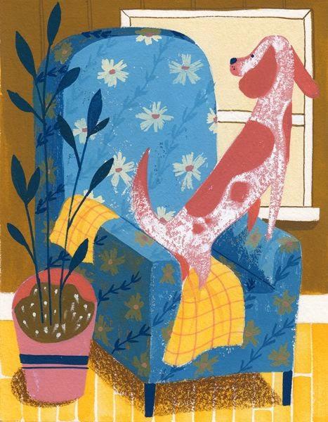 red dog in a blue armchair illustration by Ellen Surrey