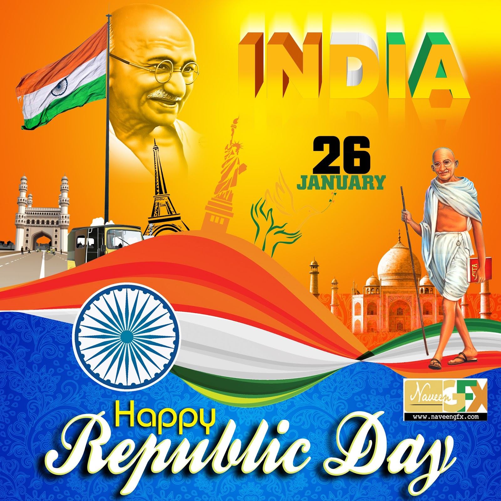 Poster design template free - Happy Republic Day Quotes And Poster Psd Templates
