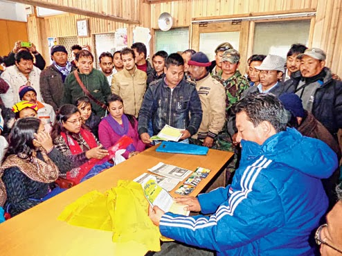 Gurung at the janta durbar in the Morcha office at the Darjeeling Motor Stand on Thursday