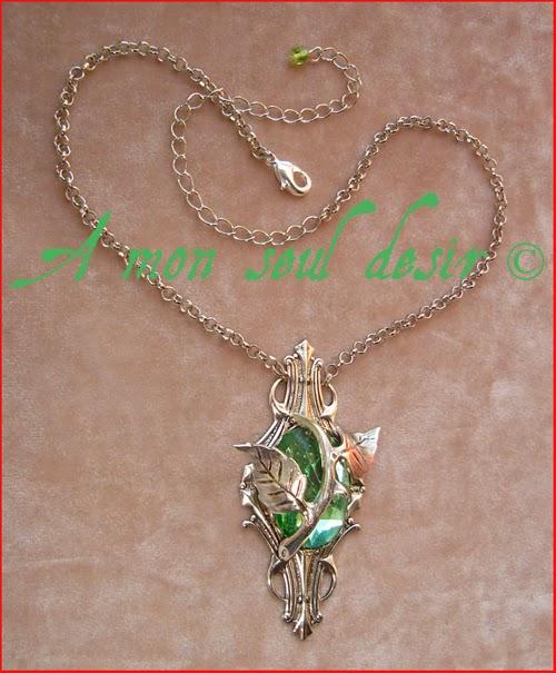 Collier elfique végétal floral vert clair Dame Nature Light Green Elven Necklace Mother Nature