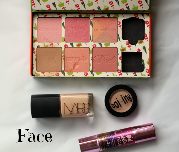 2014, something like nicola, beauty favourites, benefit, cheeky sweet spot, blush, bronzer, highlighter, girl meets pearl, boi-ing, concealer, shade 01, nars, sheer glow, foundation, santa fe,