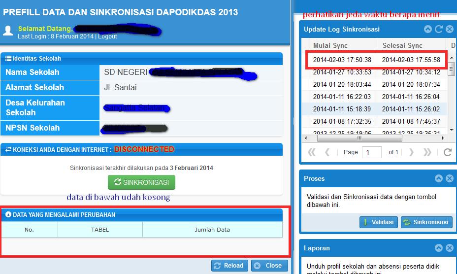 bagaimana sinkronisasi ata proses pengiriman data aplikasi dapodikdas 2013 yang berhasil? Data sinkronisasi kiriman berhasil ke server dapodik