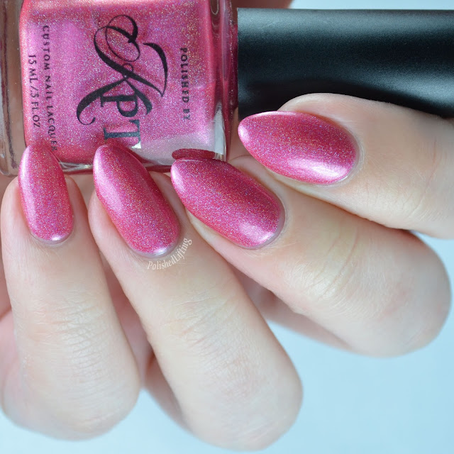 Raspberry pink holographic nail polish