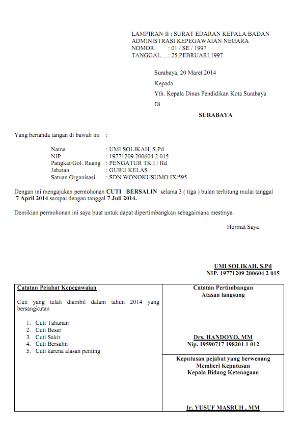 Contoh Surat Permohonan Cuti Contoh Surat Permohonan Oneletter Co