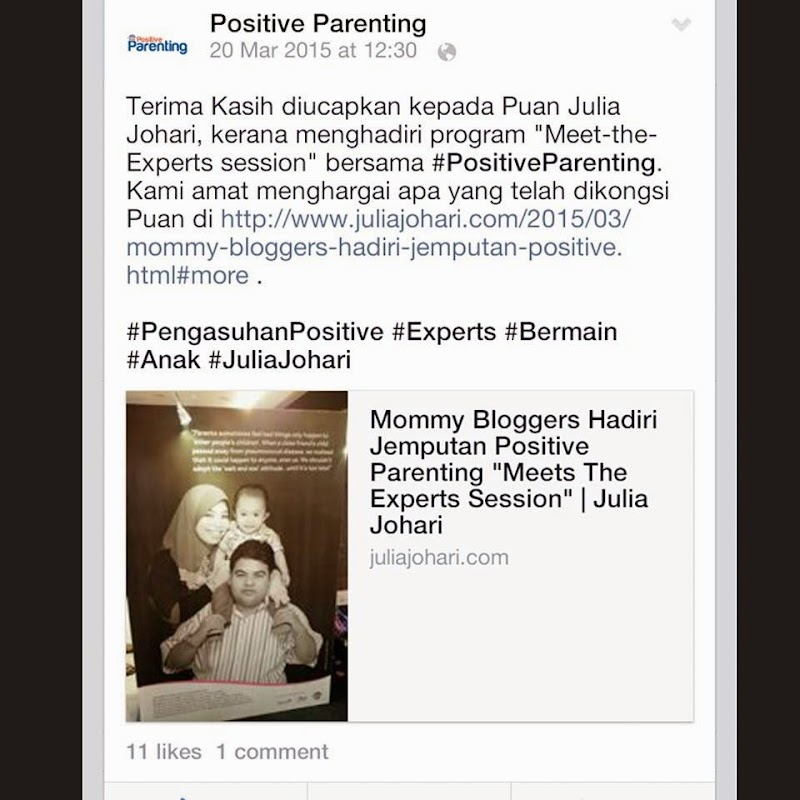 Penghargaan dan Testimonial Penglibatan Diri Ke Event Positive Parenting