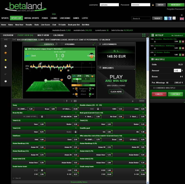 Betaland Live Betting Offers