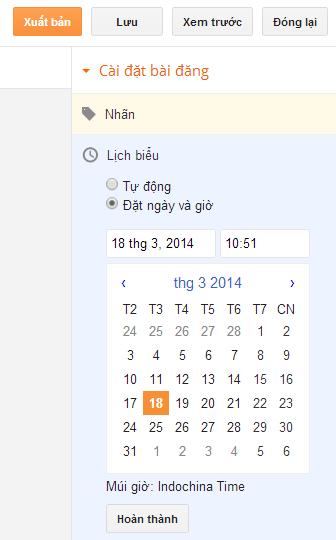 Lên lịch tự động đăng bài viết tại Blogger