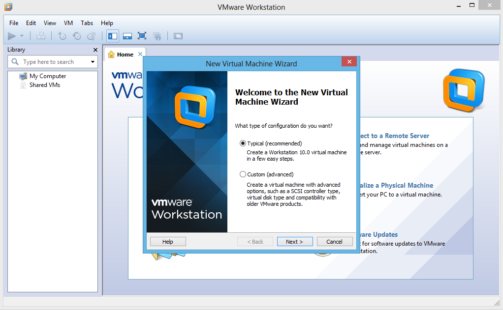 Welcome to the New Virtual Machine Wizard > pilih Typical (recommended)