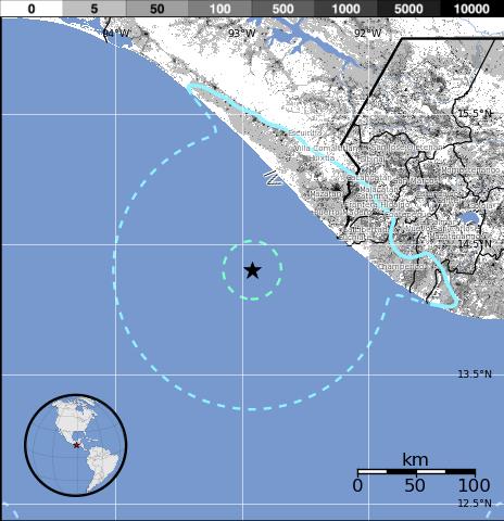 Epicentro sismo 5,8 grados en México, 02 de Marzo 2014