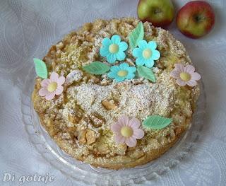 Drożdżówka z jabłkami bez wyrabiania