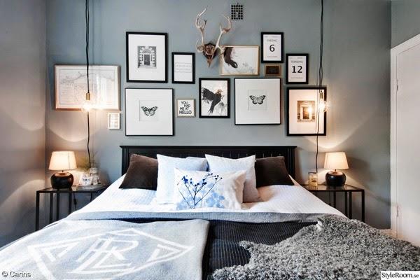 tavelvägg, hängande lampor, sovrum, inspiration, styleroom, carin, annelie palmqvist, tavlor, artprint, posters, prints, svartvita tavlor, horn på vägg, snyggt sovrum, skinnfäll, datum på print, datum, datumet, ordna en tavelvägg, tips