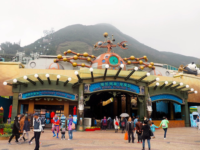 Steampunk style Ocean Express train station in Ocean Park, Hong Kong