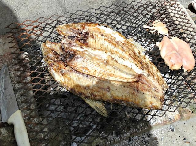 Pescado sobre la parrilla con el lomo hacia abajo