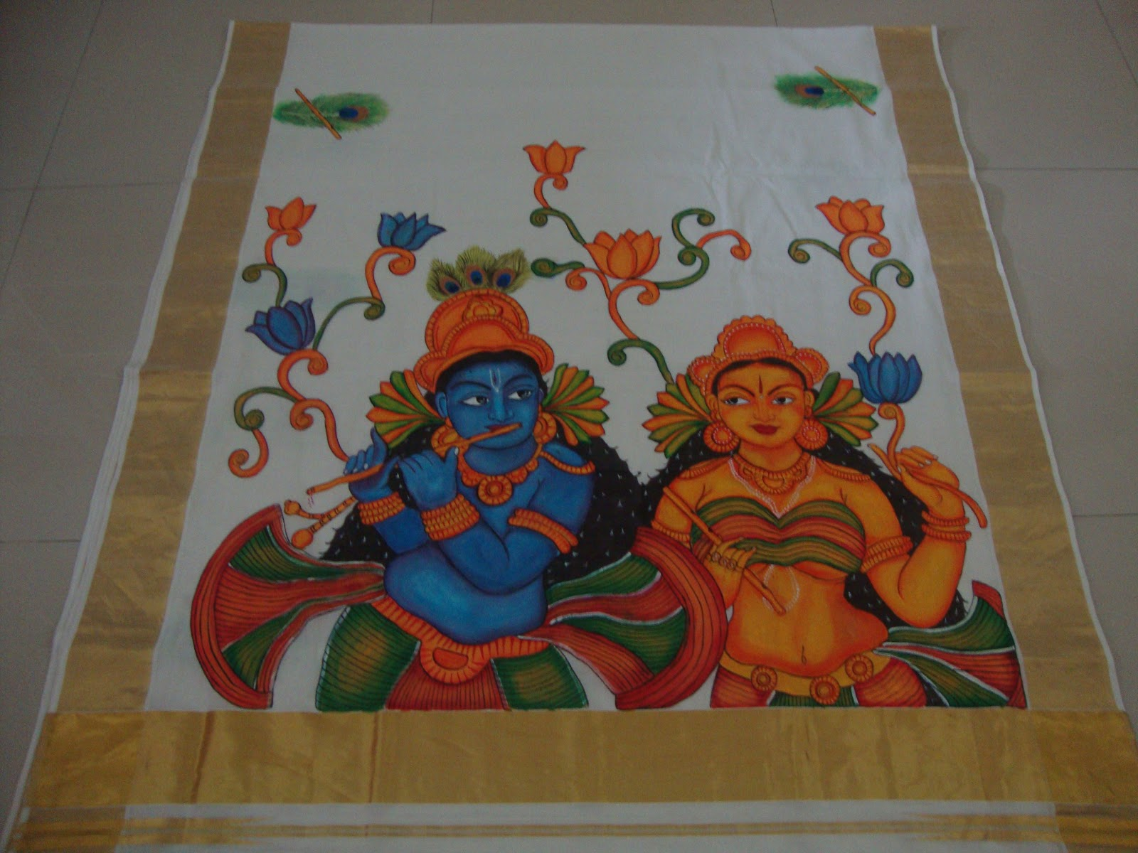Kerala stores kerala sarees with mural paintings a new trend for Mural painting designs
