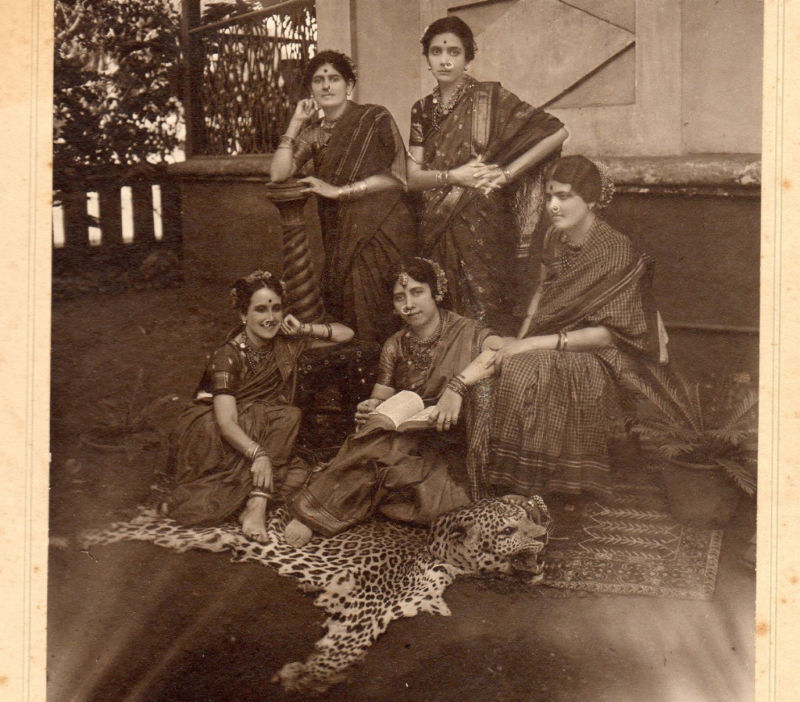 Vintage Group Photograph of Five Well-Dressed Indian Women