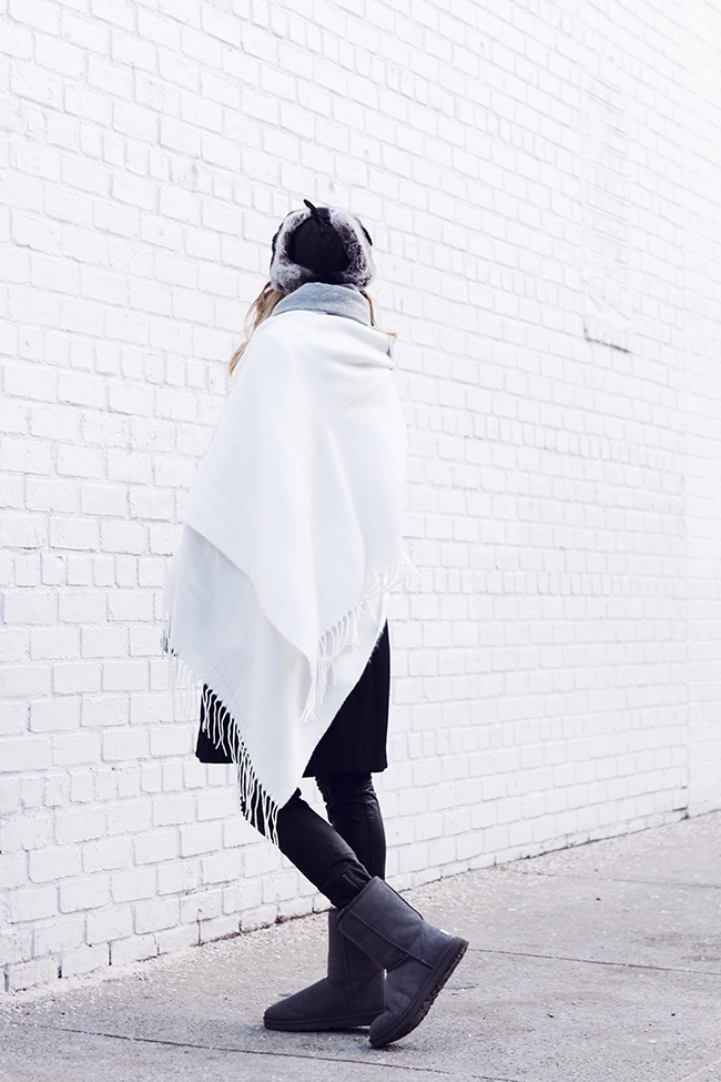 """""""Gray Matter"""" by Victoria Wind of """"The Wind of Inspiration"""" - An idea about how to combine a trapper hat, oversized scarf, leather pants and a pair of Uggs into the perfect winter outfit. #twoistyle #style #fashion #personalstyle #fashionblog #ootd #outfit #outfitoftheday"""