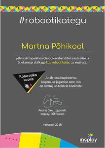 MiniRobotex pälvis veebruari robootikateo tunnustuse