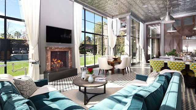 Living room mansion art deco turquoise sofa black and white tile floor picture windows Kristoffer Winters Philip Vertoch