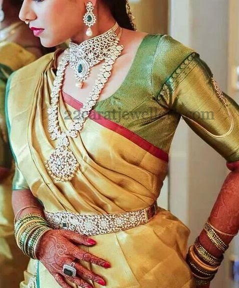 Diamond Jewelry Adorned by South Indian Bride