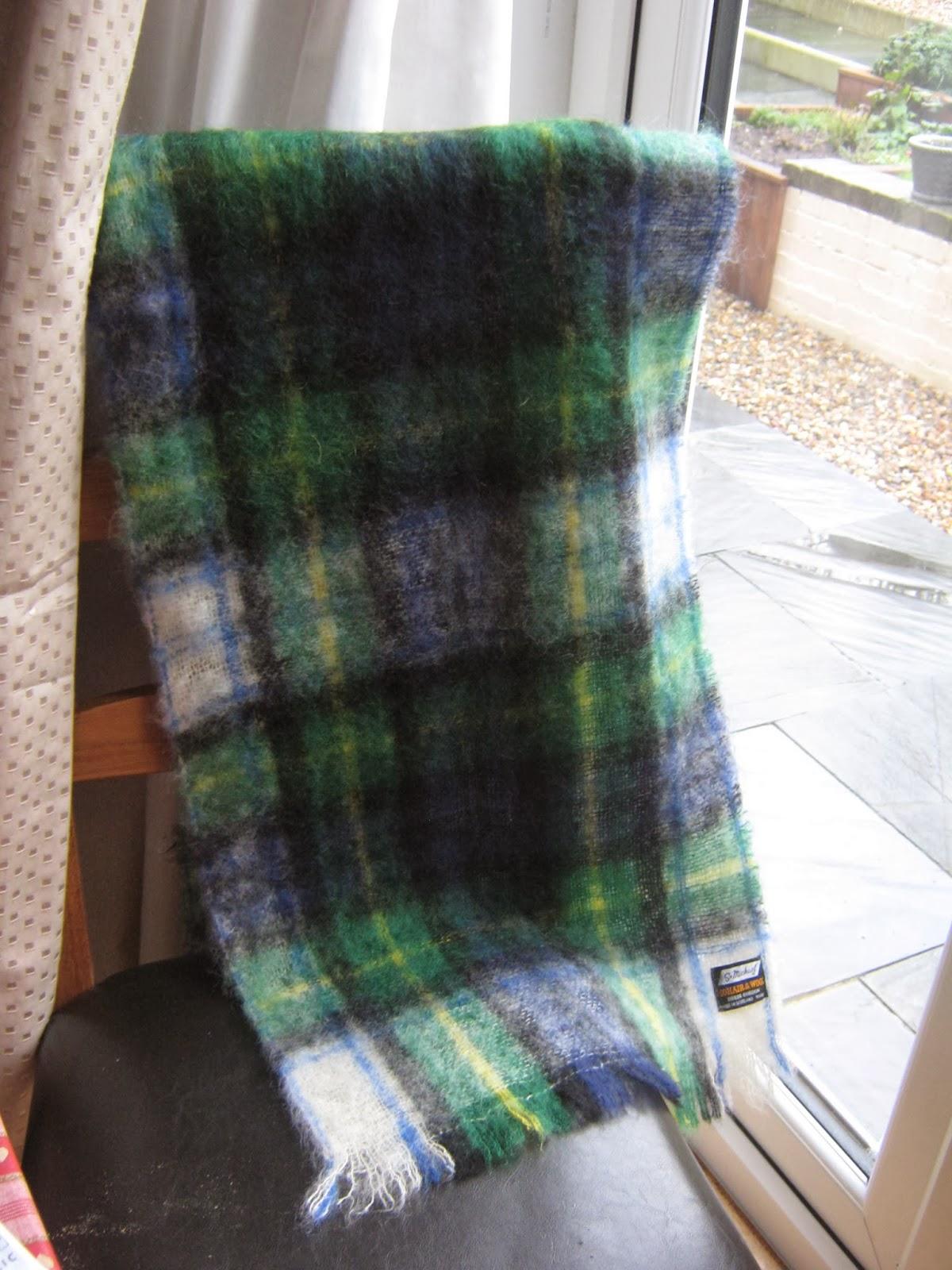 Blue and green tartan plaid scarf
