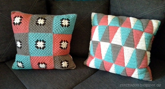 Häkelkissen / triangle crochet pillow / granny square cushion