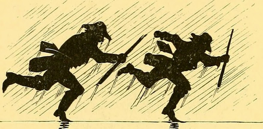 Two similar silhouettes running in rain