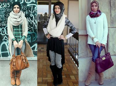 hijab dengan boots tinggi