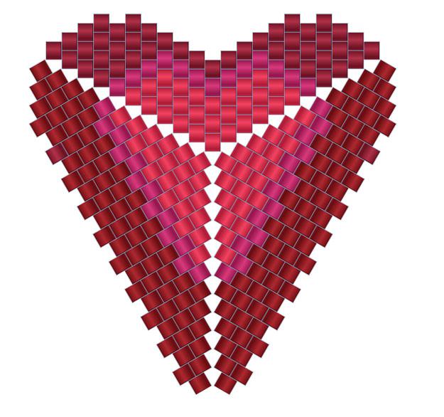 схемы сердечко сердце из