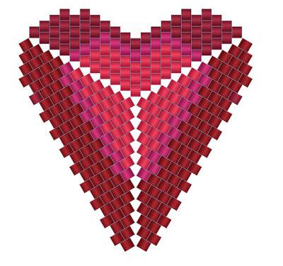 схемы сердечко сердце из бисера мозаика кулон серьги бисероплетение