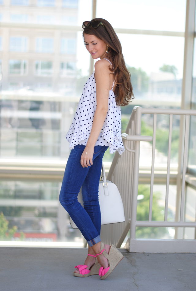 Perfect summer outfit… dots and bow wedges!