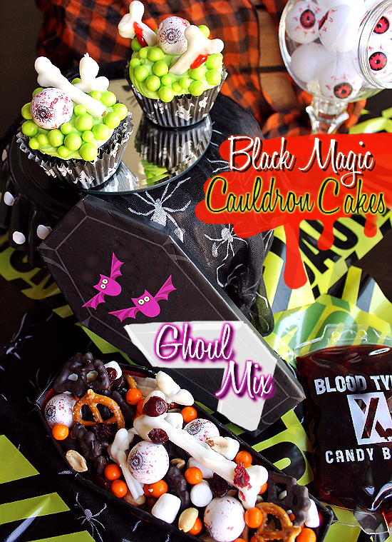 #SweetworksFall Display With Black Magic CauldronCupcakes and Ghoul Mix- Cupcakes topped with Eyeball Gumballs and Halloween Sixlets. Ghoul Mix features chocolate dipped pretzel bones, bats, and pumpkins, 'dried blood' cranberries, 'ghost poop' marshmallows, Halloween Sixlets, Eyeball Gumballs and peanuts. #Ad