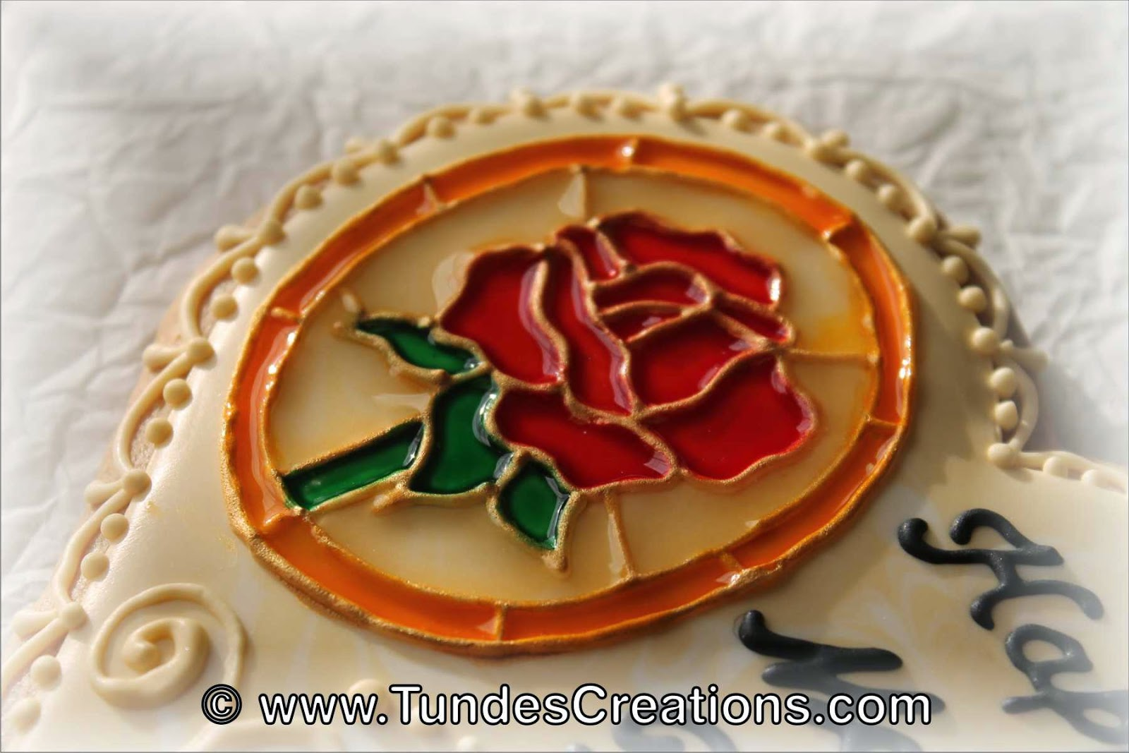 Stained Glass Rose Cookie by Tunde Dugantsi