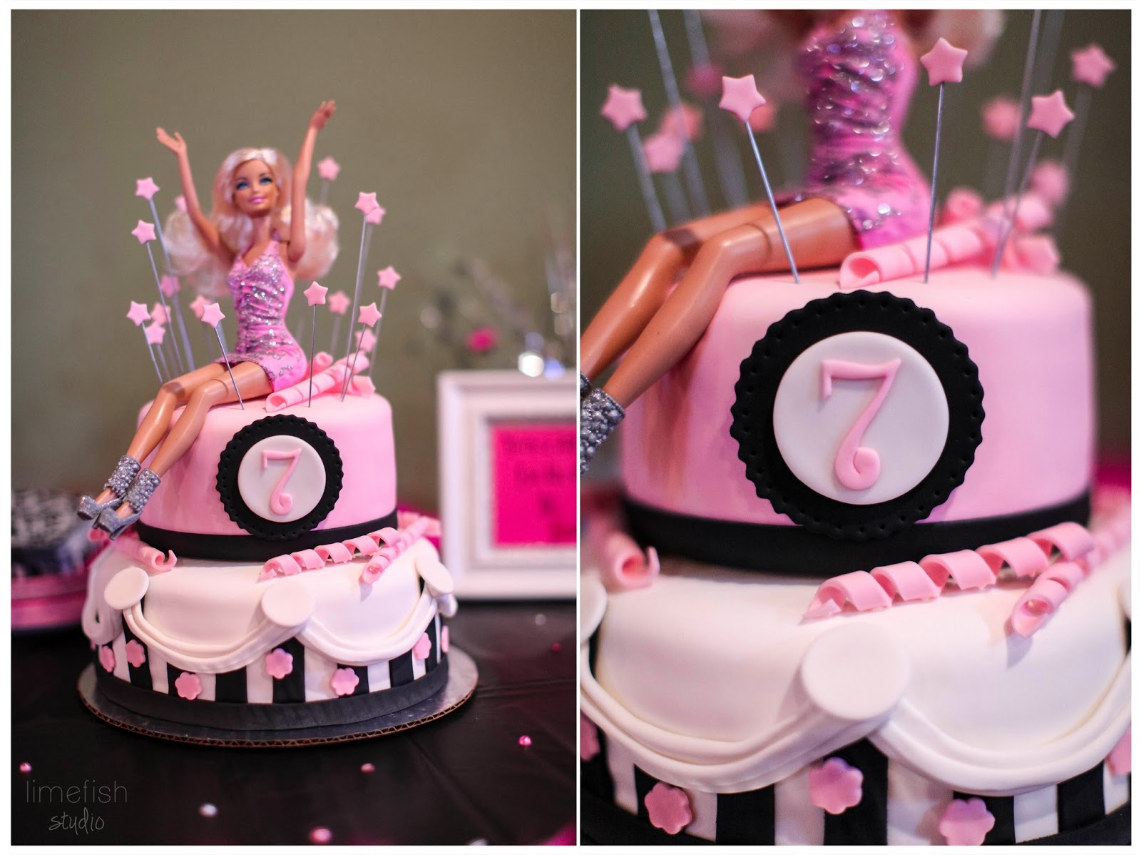 Limefish studio pink barbie birthday party photos for Decoration ideas 7th birthday party