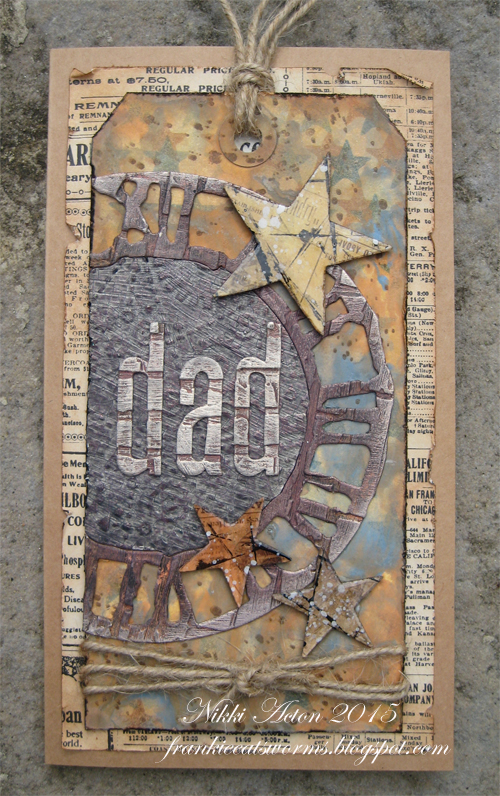 Father's Day Tag card using Tim Holtz dies and paints