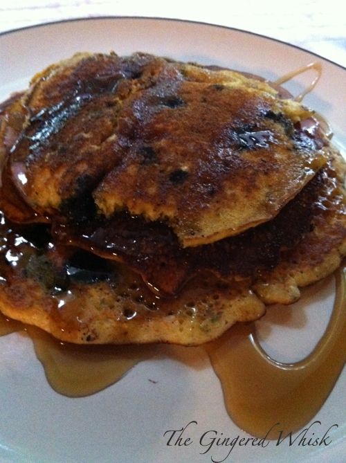 Blueberry Cornmeal Pancakes - The Gingered Whisk