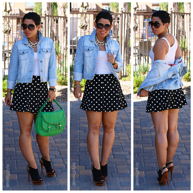 denim jacket polka dot skirt fashion lifestyle and diy