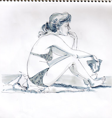 woman on the beach sketch