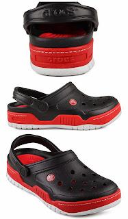 Sandal Anak Crocs warna hitam kombinasi merah
