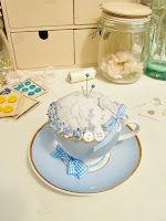 Vintage Tea Cup and Saucer Pin Cushion by Random Button