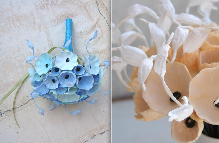 bouquet per matrimonio con fiori di carta, nei colori turchese, acquamarina, blu oceano