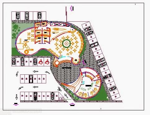 Descargar planos en autocad dwg plano de restaurant y for Plano restaurante