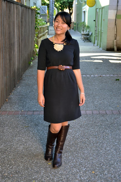 sacramento office fashion blogger angeline evans the new professional gap dress franco sarto boots banana republic necklace