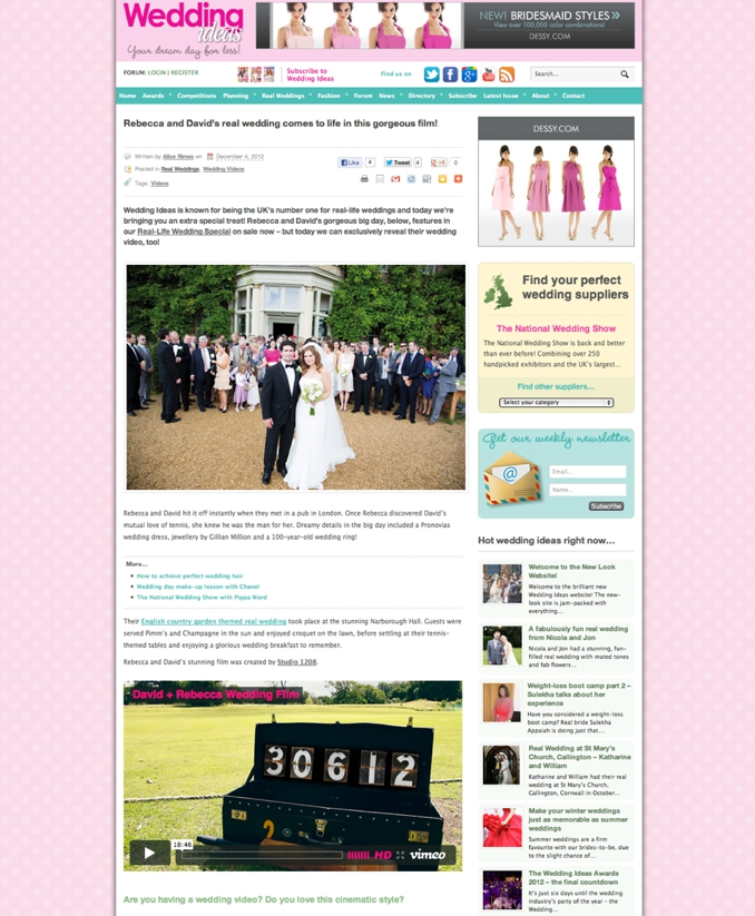 STUDIO 1208 featured on Wedding Ideas Magazine blog