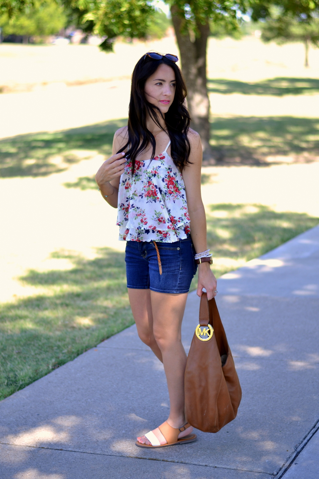 Summer Floral Cami, Denim, Cognac MIchael Kors and pink lips