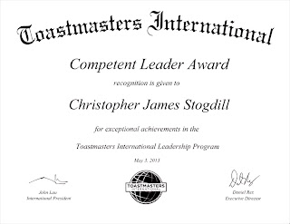 Toastmasters International Competent Leader Award
