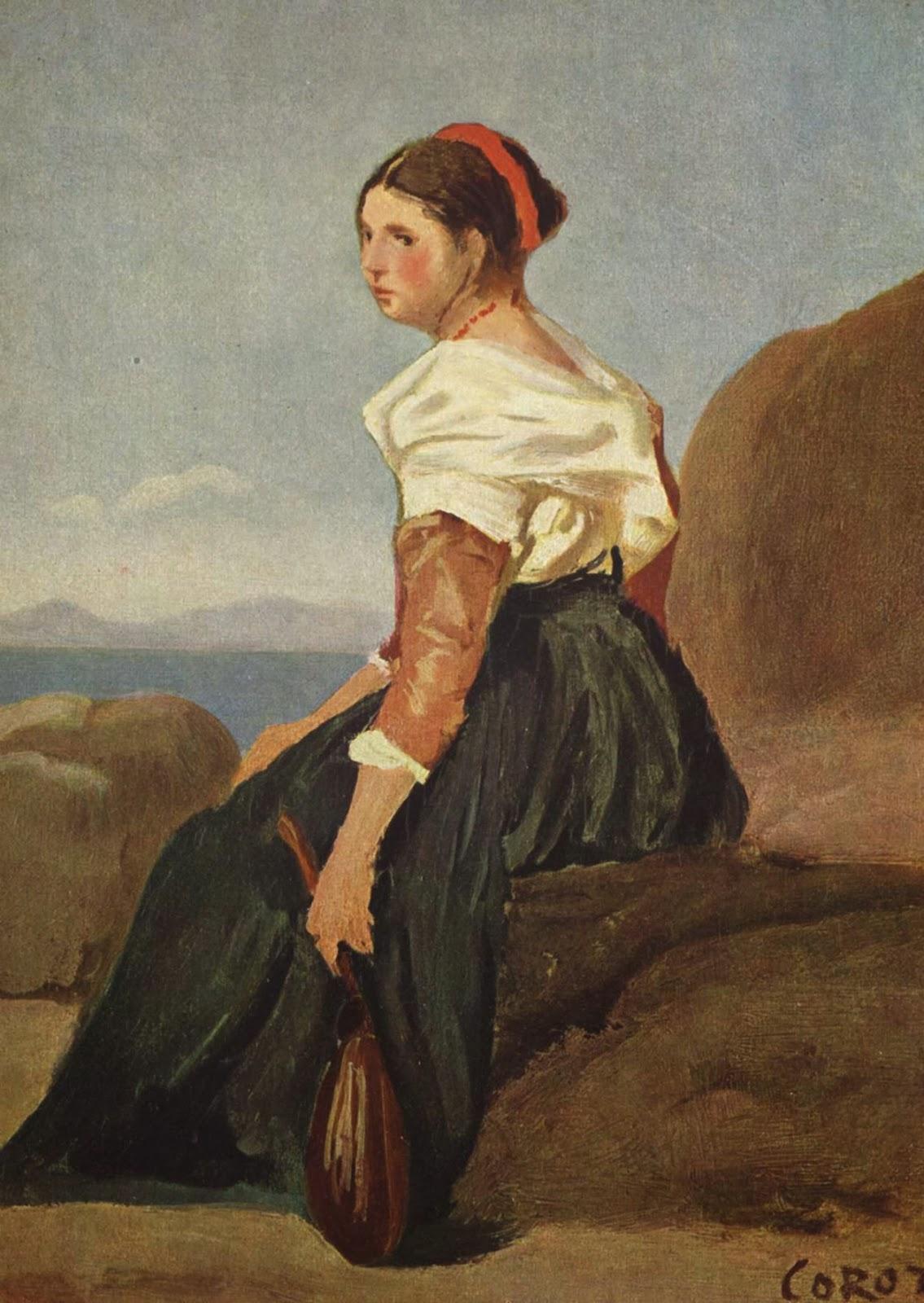 Femme avec mandoline, ca. 1827