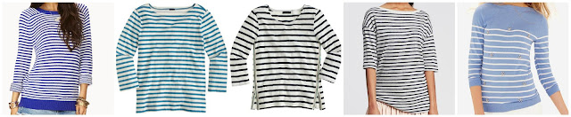 Forever 21 Everyday Striped Sweater $16.84 (regular $19.80)  J. Crew Striped Boatneck Tee $27.65 (regular $39.50) use code GOSHOPPING  J. Crew Three Quarter Sleeve Beaded Sailor Striped Tee $34.99 (regular $59.50) use code GOSHOPPING   Banana Republic Striped Linen Boatneck Tee $39.99 (regular $45.00) save an extra 40% with code BRSAVE through 7/21  The Limited Embellished Stripe Sweater $41.99 (regular $59.98)